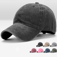 Washed Cotton Adjustable Baseball Cap Casual Solid Color Cou...