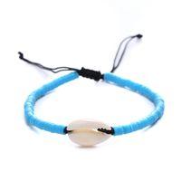 Pulsera trenzada bohemia trenzada unisex hecha a mano de múltiples colores de resina pulsera tejida con cáscara playa de verano ajustable para mujer joyería