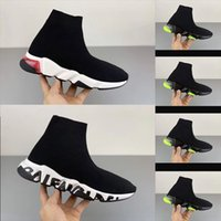 2020 дизайнерская обувь скорость тренер платформа повседневная три пары носков красный синий белый плоские моды мужская обувь Женская обувь Мода размер 36-4