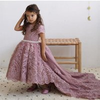 2020 Princess Wedding Flower Girls' Dresses Short Sleev...