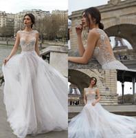 Julie Vino 2020 Cristais Um Vestido Linha do casamento Jewel Neck vestidos de noiva Lace vestido de novia Sweep Trem Vestidos de casamento personalizado 3927