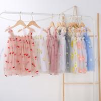 아기 소녀 튜투 드레스 아이들 꽃 파인애플 자수 슬링 거즈 스커트 여름 파티 우아한 agaric 레이스 스커트