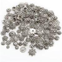 300pcs antike silberne Farbe Perlen Endkappen Blumen-Korn-Kappen für Schmuckherstellung Entdeckungen DIY Zubehör Großhandel Versorgungs