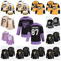 Özel Pittsburgh Penguins Hokey 2019 Golden Edition Sidney Crosby Kris Letang Evgeni Malkin Patric Hornqvist Matt Murray Jersey