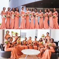 아프리카 혼합 스타일 인어 신부 들러리 드레스 긴 싼 컨버터블 웨딩 파티 드레스 숄더 플러스 사이즈 하녀의 명예 Vestidos