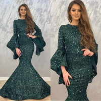 2020 Dark Green Mermaid Evening Dresses Sequin Long Sleeves ...