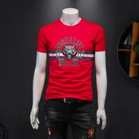 2020 Sommer der neuen Männer Größe mercerisierter Baumwolle Tigerkopf Stickerei lässig halb Ärmel Körper Herren-Kurzarm-T-Shirt für Männer Gezeiten