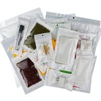 22 * 32 cm X 100 adet / grup ön şeffaf + beyaz BOPP inci filmi poli çanta-yeniden kapatılabilir kilitli torbalar, süt tozu / USB ambalaj kılıfı