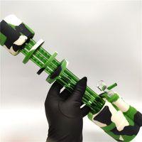 الطازجة شعبية أحدث تصميم أنابيب السيليكون أنابيب المياه Dab الحفارات مع 1 وعاء زجاجي للتدخين 14MM المشتركة 3 ألوان اختيار