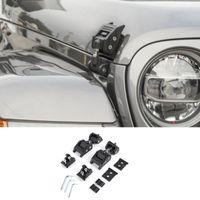 Schwarze Hauben-Verschluss-Fang-Verriegelungs-Aluminium-Legierung Dekoration Fit Jeep Wrangler JL 2018+ Auto Exterior Zubehör