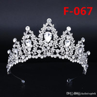 Gelin Büyük Taç Headpieces Rhinestone Kek Taç Headdress Prenses Headpieces Düğün Gelin Aksesuarları Gelinlik Parti Düğün Için