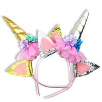Дети Прекрасных Дети Unicorn Headdress Ручного оголовье Birthday Party украшение луки аксессуары для волос Блестящих девушек New