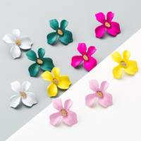 Colore della caramella Fiore Orecchino Elegante Lega Piccolo fresco Petali orecchino di personalità Orecchini per le donne ragazze della Corea dei monili di stile