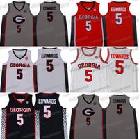 NCAA Georgia Bulldogs 5 Anthony Edwards 농구 유니폼 대학 레드 화이트 블랙 그레이 대학 유니폼 무료 배송