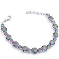 LuckyShine Madre de regalo redondo Fuego Natural Mystic Topaz Gems 925 B0064 joyería de plata esterlina color pulseras brazalete de circón boda