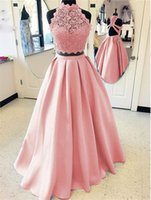 Elegant 2019 Blush Pink Prom Dresses Long Two Pieces Gown A-...