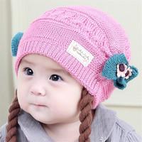 5 Couleurs Bébé chapeau d'hiver perruque tricotée chapeau en gros enfants laine chapeau tricoté Headband bateau libre DHL 20