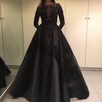 الأزياء خمر فساتين السهرة السوداء 2019 جديد يزين الرباط الحرير المرأة مهرجان ثوب طويل الأكمام الرسمي حفلة موسيقية ثوب vestidos دي فيستا