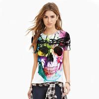 Wholeslae- tshirt estranho Crânio Impresso T-shirt colorido das mulheres camisetas T casual tops punk rock