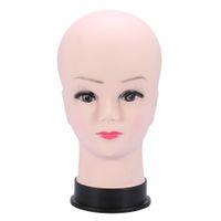 PVC-Schaufensterpuppe-Kopf-Modell weibliche Perücke, die Hut-Display mit Basis-Wimpern-Makup-Praxis-Praxis-Training-Manikin-Glatze-Kopfmodell