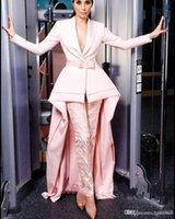 2019 새로운 핑크 깊은 V 목 긴 소매 이브닝 드레스 바지 정장 레이스 댄스 공식 파티 가운 Jumpsuit 연예인 착용