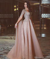 2019 Perlen Kristalle arabischen Abendkleid sagte Mhamad eine Linie Celebrity Formal Holiday Wear Prom Party Kleid Custom Made Plus Size