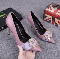Luxury sexy Stiletto Women pumps shoes Genuine Leather T stage show Wedding Party shoes Slip-On Sequined square buckle Hight heel 8 cm
