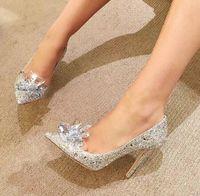 Bridal Strass Hochzeitsschuhe Kristallblumen Silber Spitze Stiletto Ferse Bankett Lady Pumps 5cm 7 cm 9cm Für Wahl