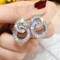 Ins Новое игристое Vintage ювелирные изделия стерлингового серебра 925 Princess Cut белый топаз CZ Алмазный круг партии Женщины Свадебные серьги стержня