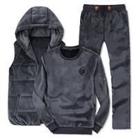 Mode Hiver Hommes Costumes sport à capuche veste + pantalon + Sweat-shirt Set d'or Velvet 3 Piece Survêtement pour les vêtements pour hommes