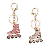 도매 라인 석 롤라 스케이트 신발 펜던트 열쇠 고리 장식 반지 가방 자동차 열쇠 고리 장식 보석
