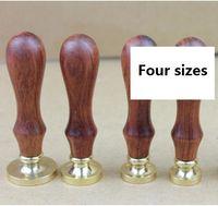 Sigillo di cera normale Testa di rame vuota senza intaglio con manico in legno Fai-da-te Sigillo di cera vintage timbro / busta sigillo regalo Testa vuota