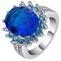 Crytal Blue CZ Gem Silver Color Flower Ring per accessori moda donna lady party Ring Size 6-10