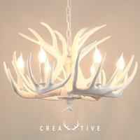 Moderne weiße Kronleuchter Kreative Kerze Antler Kronleuchter Amerikanisch Retro Harz Hirsch Horn Lampen Home Dekoration Deckenbeleuchtung