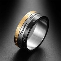 Titanium Steel Tricolor Calendar Time Wedding Ring Men'...