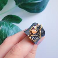 화려한 놀라운 큰 반지 돌 반지 블랙 골드 컬러 럭셔리 빈티지 큰 칵테일 반지 여성 파티 보석