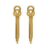 Урожай Женщины серьги металл узел цепь серьга стержень для женщин Панка ювелирных изделий Gold Chain кисточка серьги подвеска готического Brincos Femme Bijoux