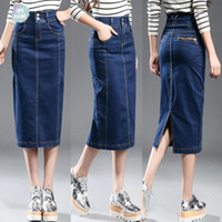 Denim Saias novos esticar Mulheres Plus Size cintura alta Denim Pencil Skirt Patchwork Magro Hip Jean saia longa Primavera 8Xl