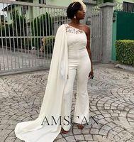 Afrika Kadınlar Tulumlar Zarif Artı Boyutu Örgün Abiye 2020 Seksi Pantolon Cape Ucuz Pageant Nedime Parti Gelinlik Modelleri ile Suits