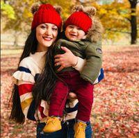 귀여운 유아 키즈 니트 양모 모자 가짜 모피 공 Pom 크로 셰 뜨개질 모자 겨울 따뜻한 엄마와 아기 육아 비니 모자 혼합 색상