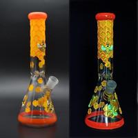 Mão pintura de vidro bongo de 11 polegadas 5mm beaker bong brilho no escuro espesso espessura de vidro de vidro tubo