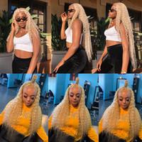 Transparent 613 Blonde perruque Lace Frontal Perruques simulation brésilienne longue avant de dentelle perruque de cheveux humains Pré plumé perruque synthétique vague profonde