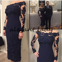 2019 Mother of the Bride Dresses Navy Blue Sheath Satin Ankle length Off the Shoulder Long Sleeves Women Evening Party Celebrity