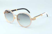 19 anos new luxury frame redondo diamante óculos de sol T19900692 retro moda chapéu de ouro naturais chifres misturados espelho pés decoração