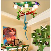 Decora Karikatur-Affe-Deckenleuchten L67cm W40cm LED E27 Affe Kletterbaum Kinder Schlafzimmer Deckenleuchten Moderne Haushalts Kunst-Befestigungen