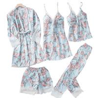 Ropa de dormir de las mujeres para mujer de la primavera 5pc Strap Top Pantalones Traje Pijamas Sets Otoño Inicio Use Nightwear Kimono Robe Bata Vestido M-XL