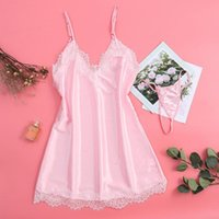 White Pink Sexy Nightdress Women Solid Two Piece Set Lingeri...