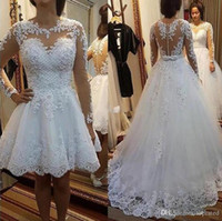 2020 Elegant Wedding Dresses With Detachable Skirt Jewel Lon...