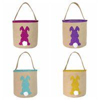 Pasqua Bunny Tote Bag 4 Stili Borsa da caccia uova Bags Pasqua Baster Juta Cotton Secchio di Pasqua Decorazione Decorazione Partito regalo Borsa