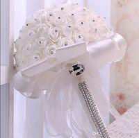 Creme Satin Rose Braut Hochzeit Bouquet Hochzeit Dekoration Kristalle künstliche Blumen Brautjungfer Brauthandholding-Brosche Blumen CPA1582